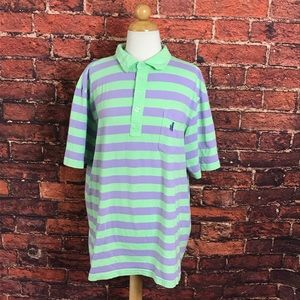 Johnnie-O Green & Purple Striped Polo Shirt